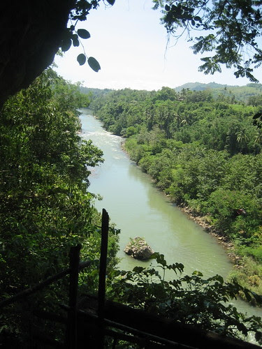 Looking out into the river from the cave