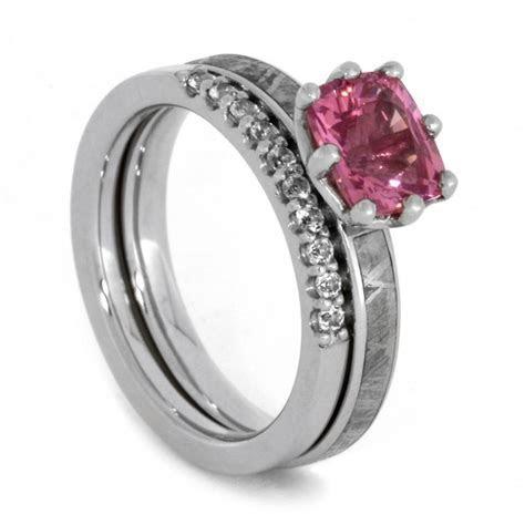 Bridal Set With Pink Gemstone, Meteorite Engagement Ring