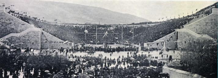 Panathenaic Stadium. Olympic Opening Ceremony 1896. Public domain photo.