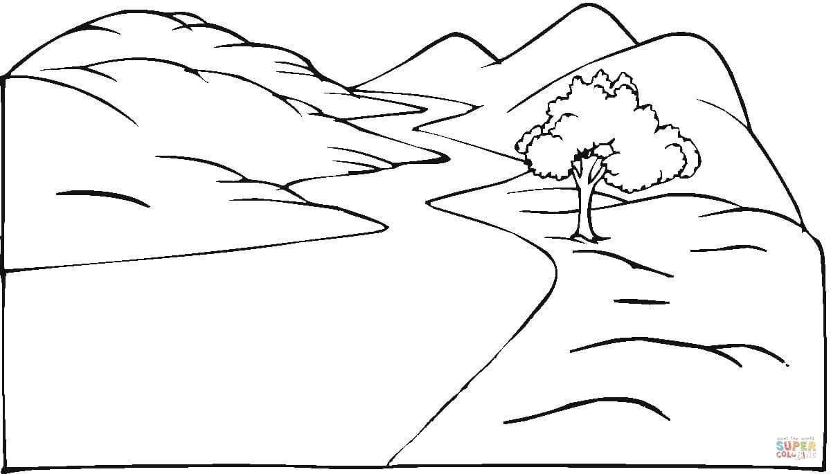 Dibujo De Paisaje Y Carretera Con Viento Para Colorear Dibujos