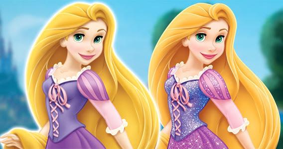 old Rapunzel v. new Rapunzel- her hair looks more orange ...