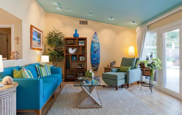 Coastal Retreat in Woodland Hills - Tropical - Living Room ...