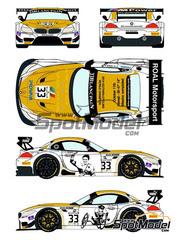 Racing Decals 43: Calcas escala 1/24 - BMW Z4 GT3 Roal Motorsport Nº 33 - Alessandro 'Alex' Zanardi (IT) - Zolder DRM 2014 - para kit de Fujimi FJ125930