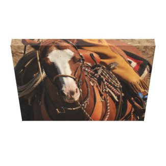 Cowboy on Blaze Faced Sorrel Horse wrappedcanvas