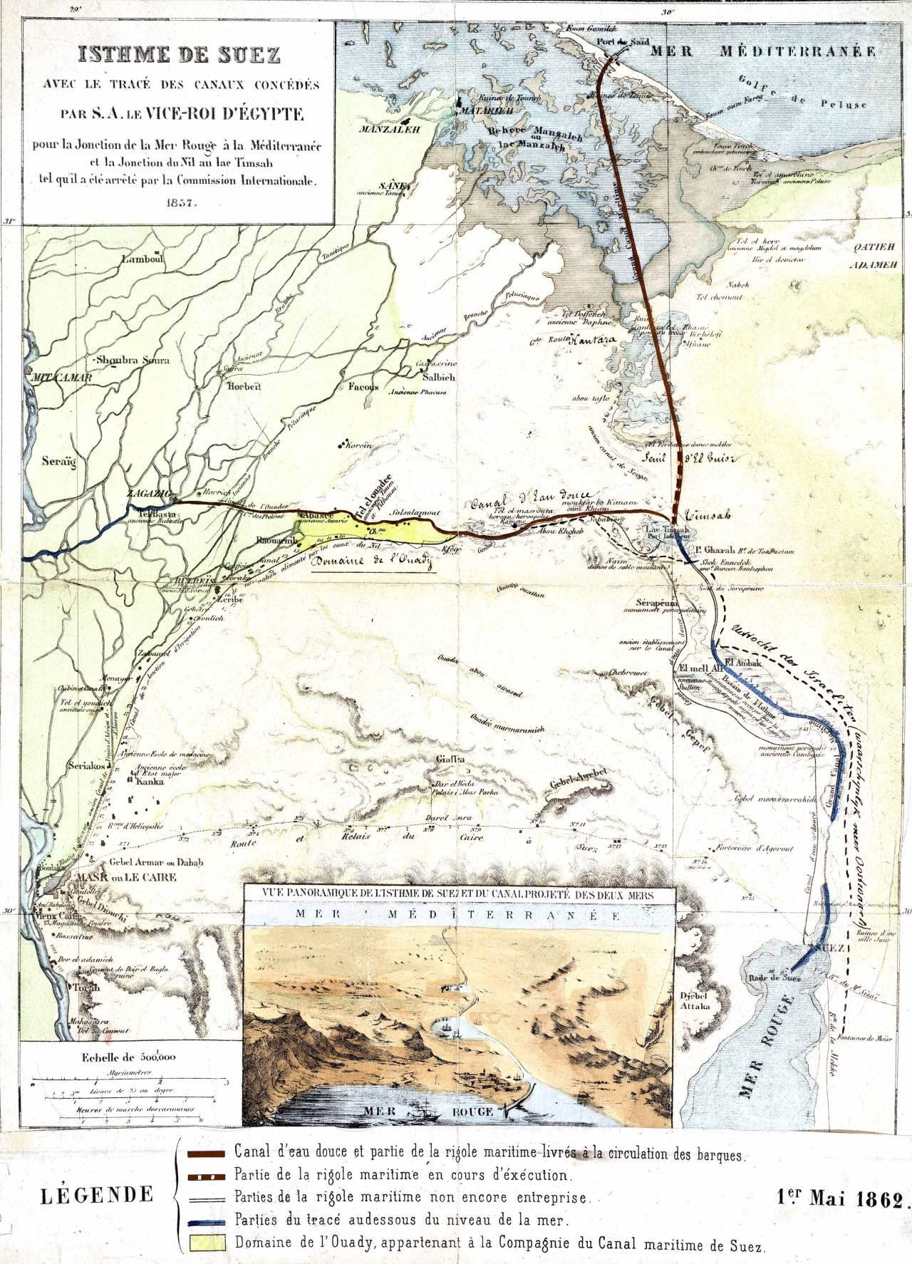 avec le tracé des canaux concédés par S.A. le Vice-Roi d'Égypte