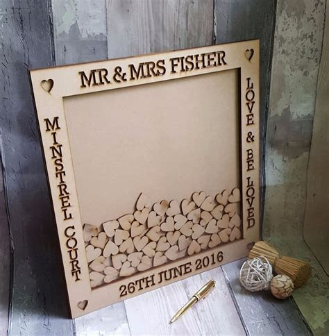 Laser cut out drop box wedding guest book frame