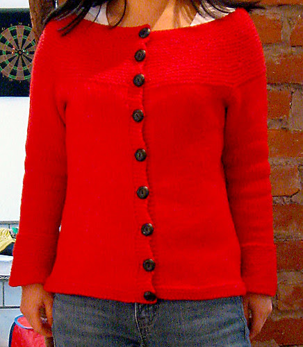 Garter Yoke Cardigan from Knit1