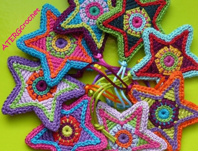 Colorful star crochet pattern by ATERGcrochet