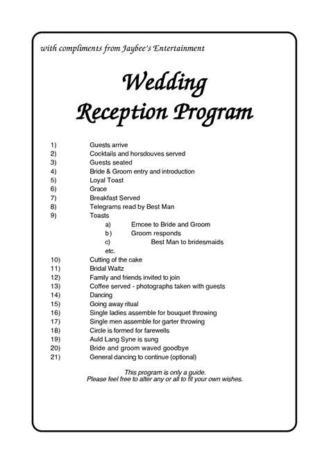 Wedding Program Order of Reception     Jaybee s