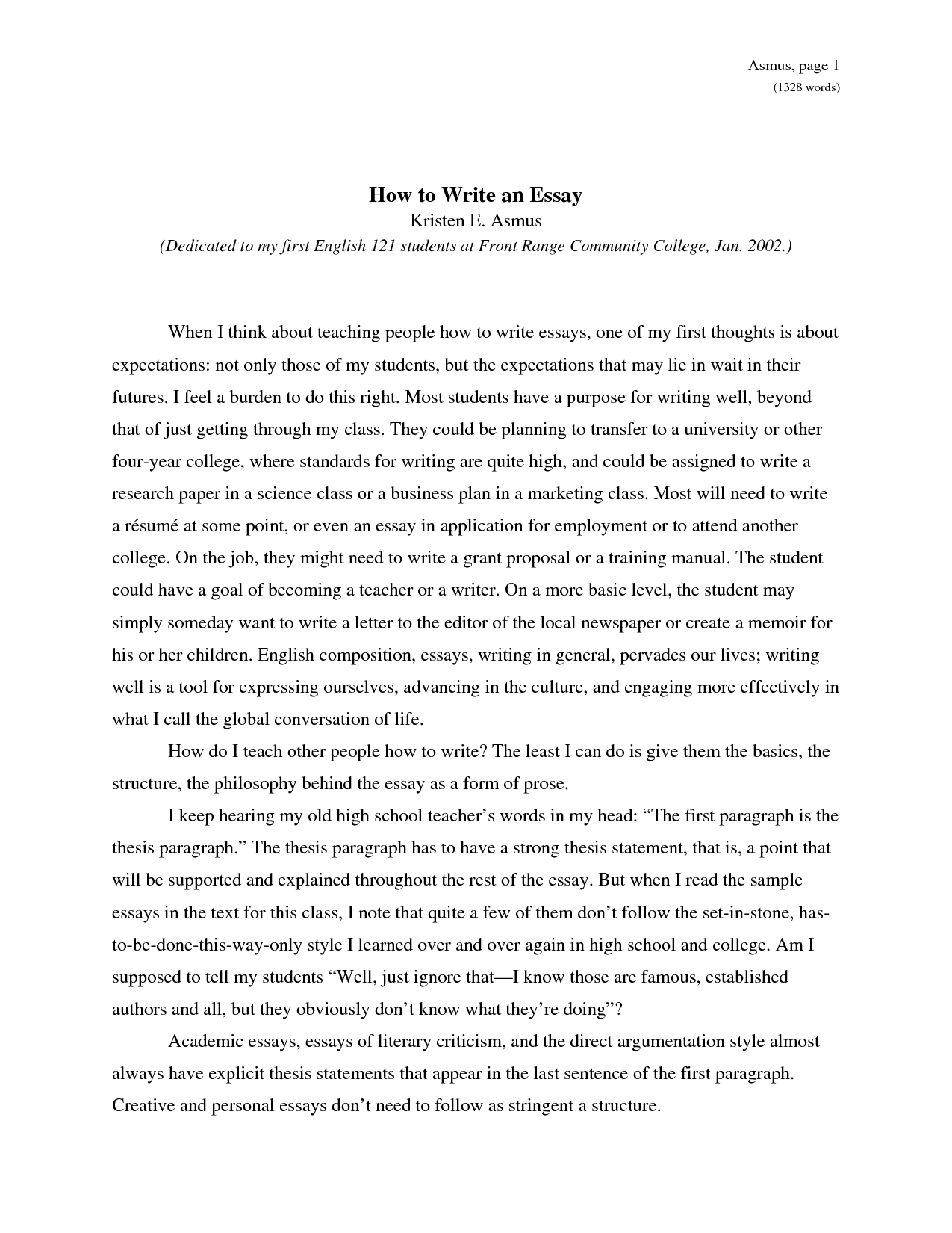 thesis statement how to write an essay