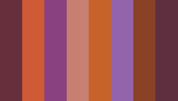 From Beyond colours: Tawny Port (19-1725 TCX); Vivacious (19-2045 TCX); Byzantium (19-3138 TCX); Mesa Rose (17-1609 TCX); Burnt Orange (16-1448 TCX); Amethyst Orchid (17-3628 TCX); Fired Brick (19-1337 TCX); Acai (19-3628 TCX)