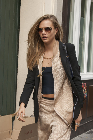 Cara Delevingne seen out and about with her friends during Paris Fashion Week.
