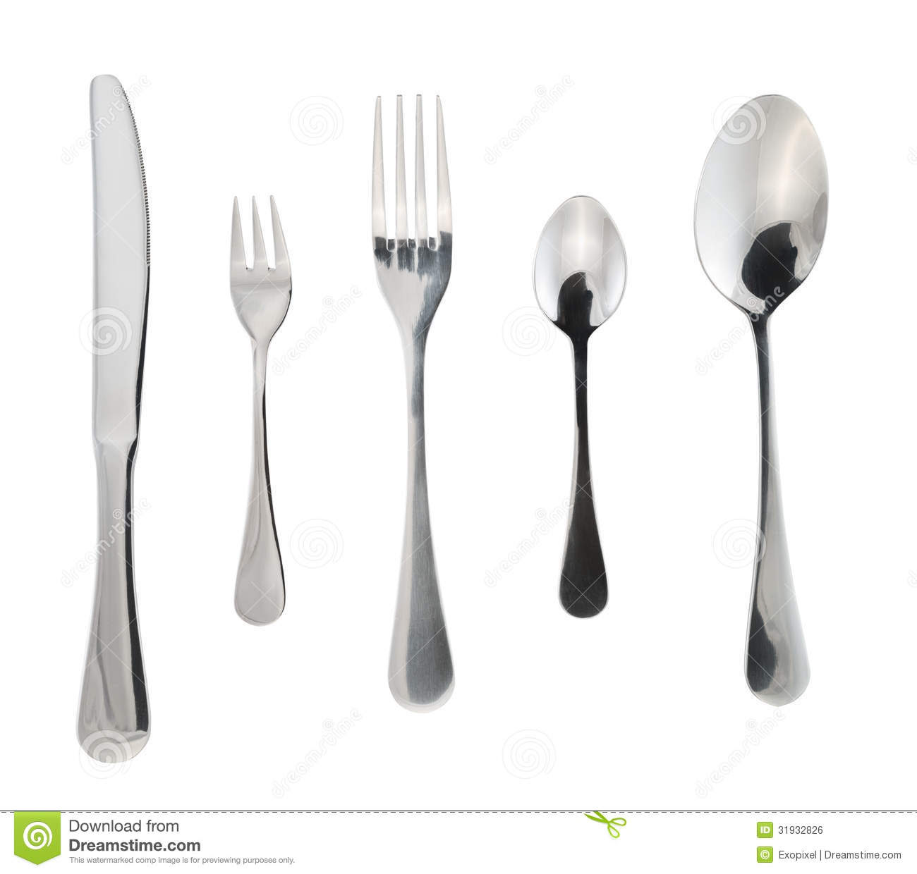 Cutlery Silverware Or Flatware Isolated Royalty Free Stock Image