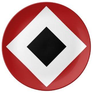 Black Diamond, Bold White Border on Red Porcelain Plate