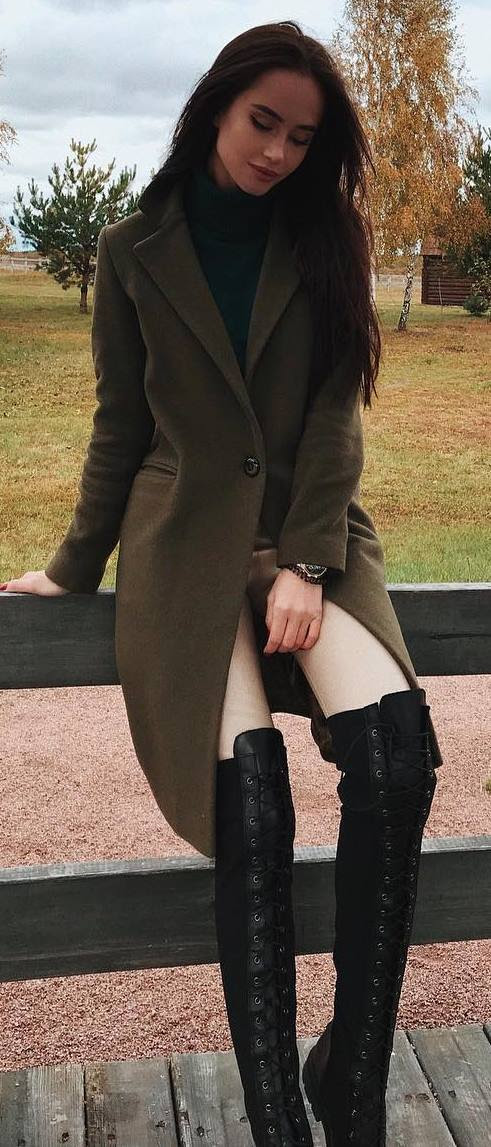 how to wear over knee boots / cashmere coat + nude skinnies + black top