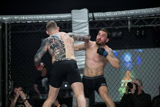 Portuguese MMA fighter Joao Carvalho (right) during the fight against Charlie Ward. Photo: Dave Fogart. Photo: Dave Fogarty