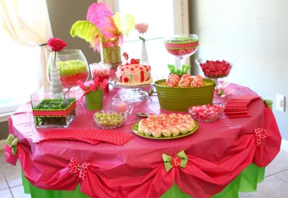 Personalized Table Cloth, Pink and Green, Birthday Party, Candy Table, Strawberry Shortcake