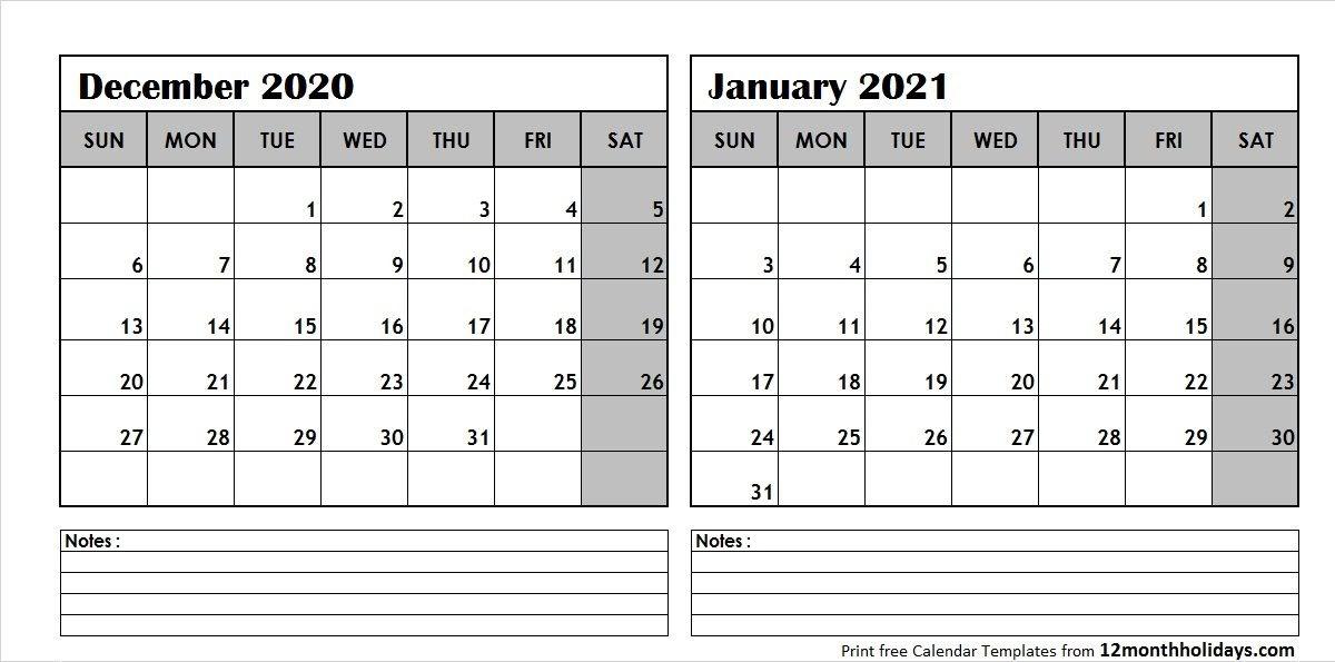 December 2020 January 2021 Calendar Printable | Empty Calendar