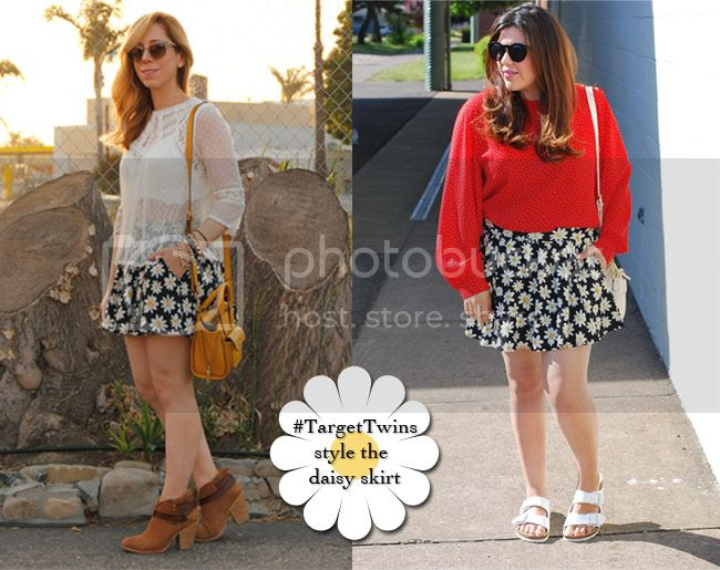 the #TargetTwins wear an Xhilaration daisy print scooter skirt from Target