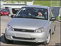 President Putin at wheel of new car at Avtovaz plant, 18 May 07