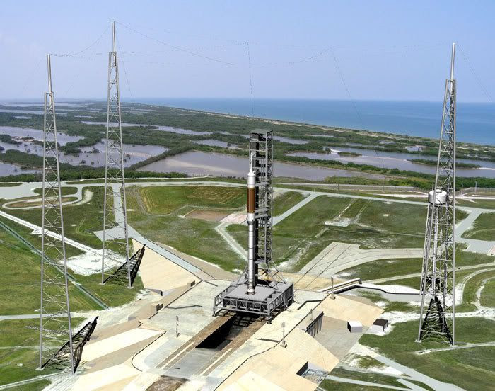An artist's concept of an Ares I rocket at Launch Complex 39-B.