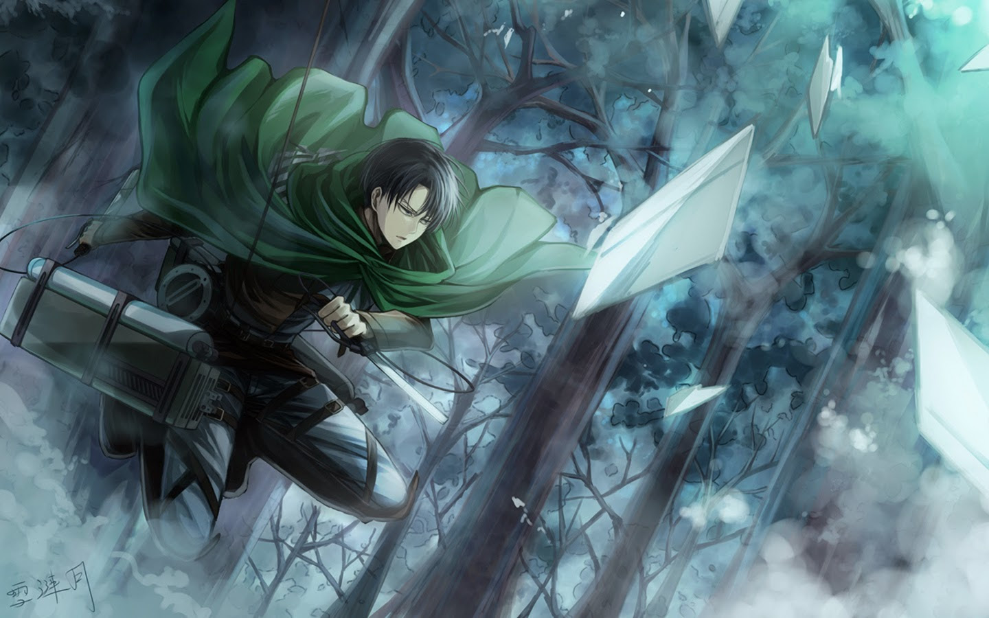 Wallpapers Attack On Titan Swords Warriors Young Man Levi X Rh Zoom Me