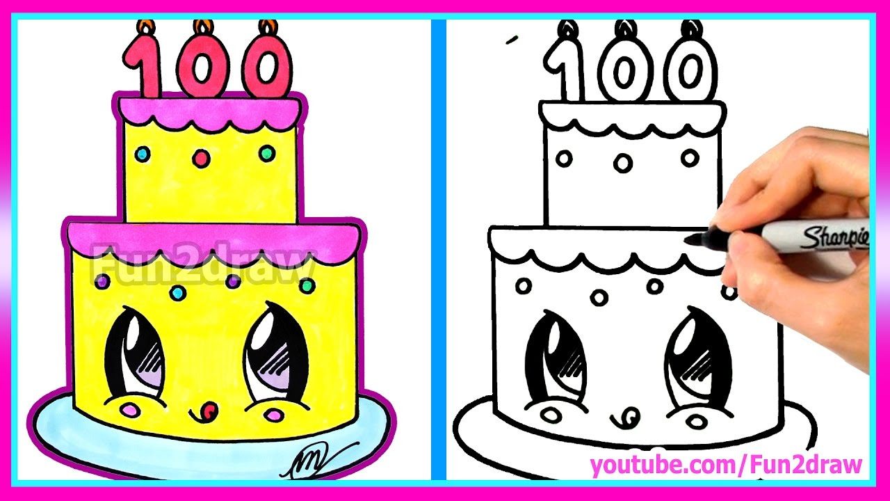 How To Draw A Happy Birthday Cake Easy Youtube