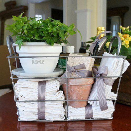 housewarming gifts ideas basket flower pot