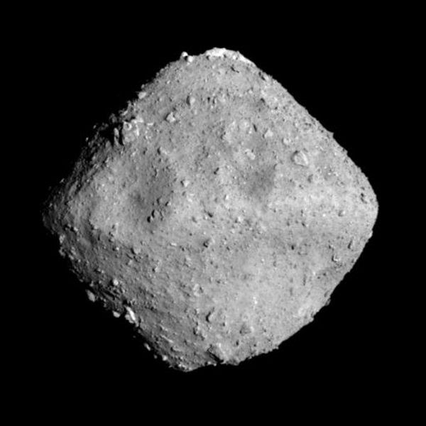 A snapshot of Ryugu that was taken by Japan's Hayabusa 2 spacecraft prior to it entering orbit around the asteroid...on June 27, 2018 (Japan Time).