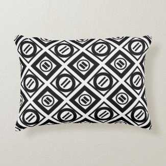 Stylish Black Geometric Pattern on White Accent Pillow