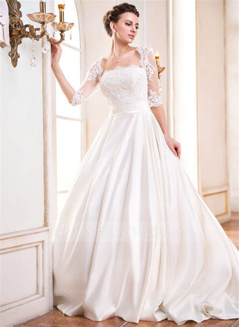 Ball Gown Square Neckline Court Train Satin Wedding Dress