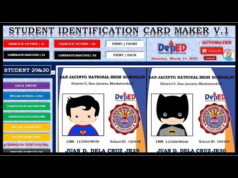Identification Card Maker Template with Bar Code Generator (Free Download)