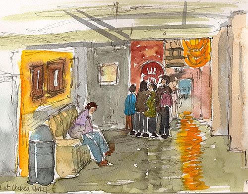 Sketchcrawl 25 - Chelsea Market looking toward 9th Ave entrance