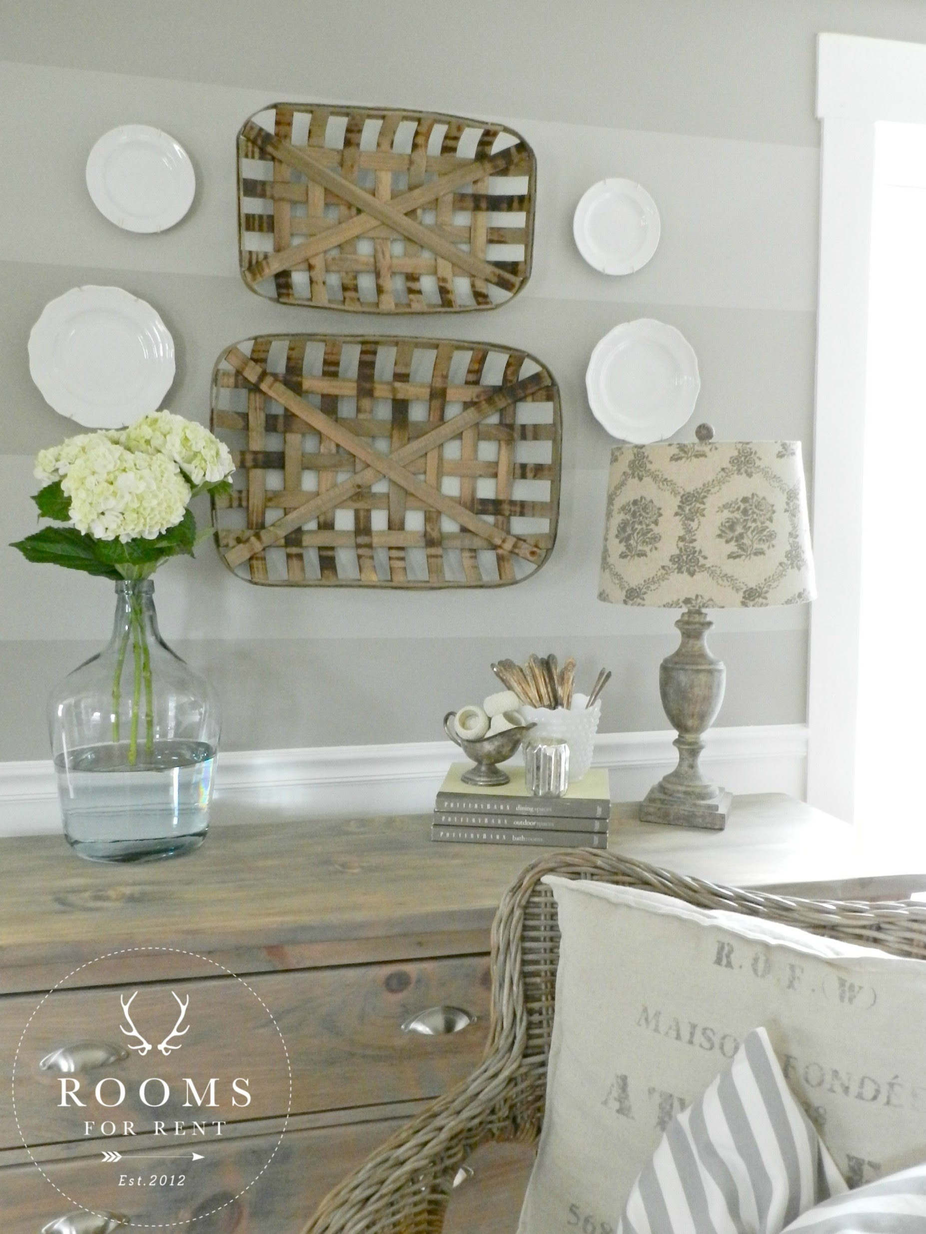 Tobacco Baskets wall decor & a Giveaway! - Rooms For Rent blog
