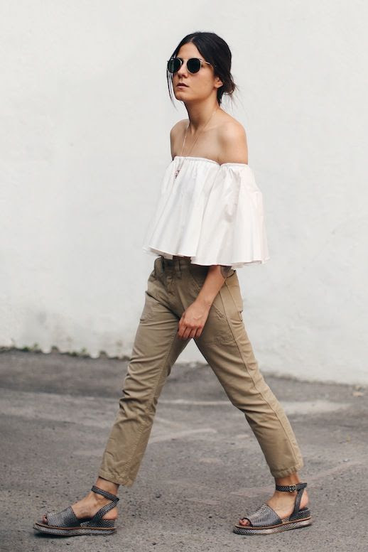 Le Fashion Blog Neutral Look Blogger Style Low Bun Sunglasses Long Necklace Ruffled Cream Off The Shoulder Shirt Khaki Cargo Pants Grey Low Heeled Sandals Via The Fashion Medley