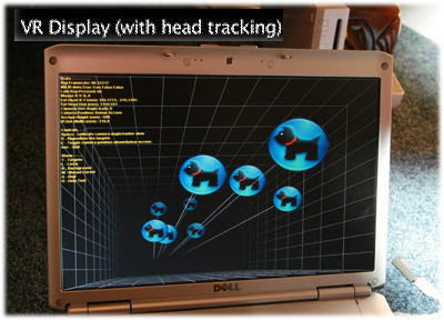Example of video screen using head tracking