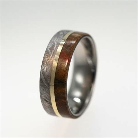 This is a ring made from dinosaur bone, meteorite, and