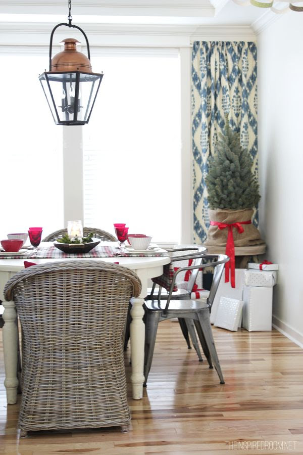 The Inspired Room Christmas House Tour - Dining Room. Love this look - our Tolix chairs and Country Grey rattan are a great match for these with the English country dining table