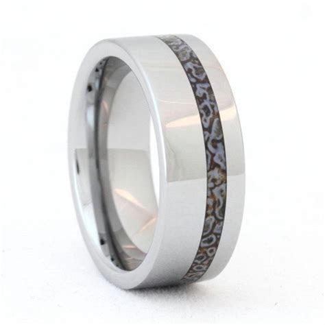 Tungsten Ring, Dinosaur Bone Ring, Unique Mens Wedding