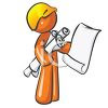 Orange Man Character Mascot Building Inspector clipart