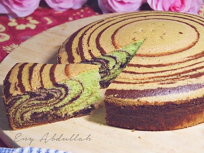 Kek Mentega Belang Pandan Dan Coklat