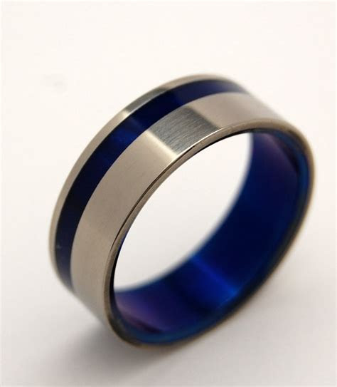 Titanium Wedding Ring Titanium ring Something Blue Mens   Etsy