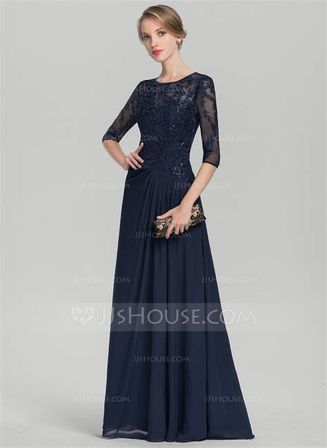 A Line/Princess Scoop Neck Floor Length Chiffon Lace