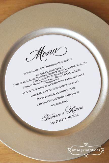 Round Menu Card, Circle Menu Card, Black and White Wedding