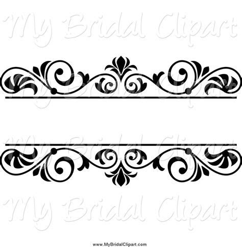 Bridal Clipart of a Black and White Wedding Floral Frame