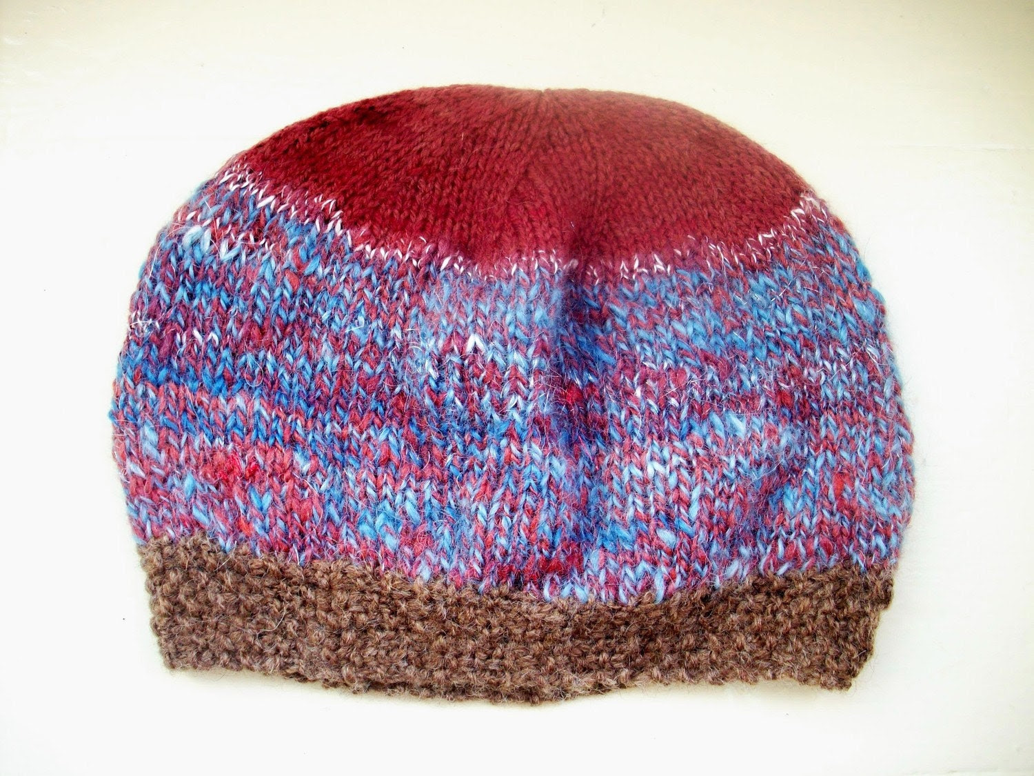 Contemporary colours handspun hand dyed hand knitted unisex wool and silk beanie hat