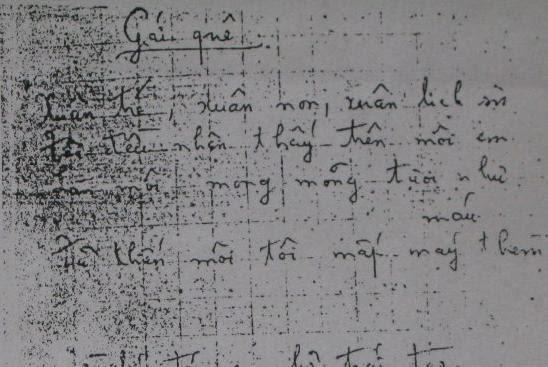 Bút tích bản chép tay Gái Quê của Chế Lan Viên khi làm Tuyển tập Hàn Mạc Tử