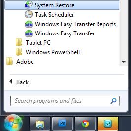 Start Menu System Restore