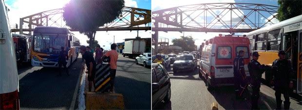 Menina de 9 anos é atropelada por ônibus sob passarela em Natal (Foto: Luiz Beserra/Inter TV Cabugi)
