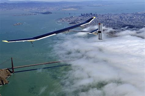 solar powered plane soars   golden gate bridge